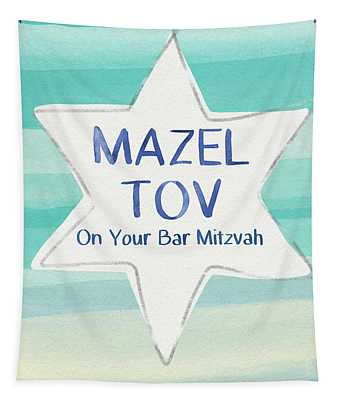 Mazel Tov On Your Bar Mitzvah-  Art By Linda Woods Tapestry