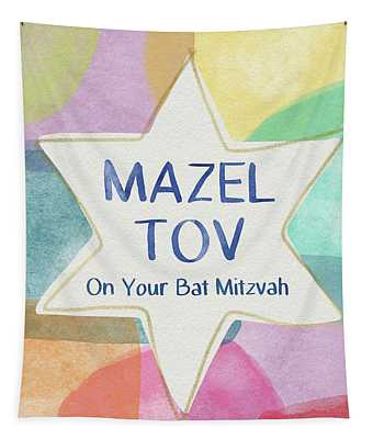 Mazel Tov On Your Bat Mitzvah- Art By Linda Woods Tapestry
