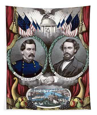 Mcclellan And Pendleton Campaign Poster Tapestry