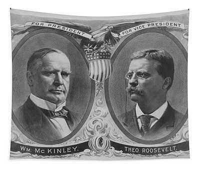 Mckinley And Roosevelt Election Poster Tapestry