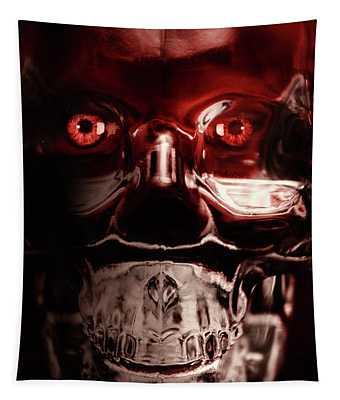 Mech War Machine. Crystalised Robot Skull Tapestry
