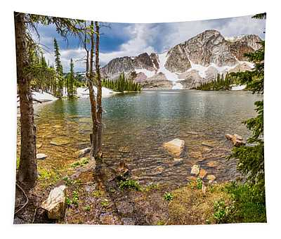 Medicine Bow Snowy Mountain Range Lake View Tapestry
