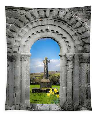 Medieval Arch And High Cross, County Clare, Ireland Tapestry