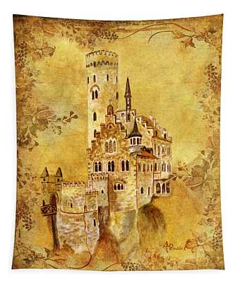Medieval Golden Castle Tapestry