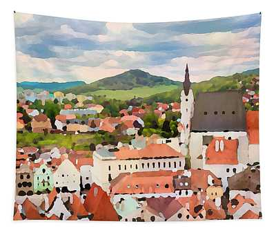 Tapestry featuring the digital art Medieval Village  by Shelli Fitzpatrick