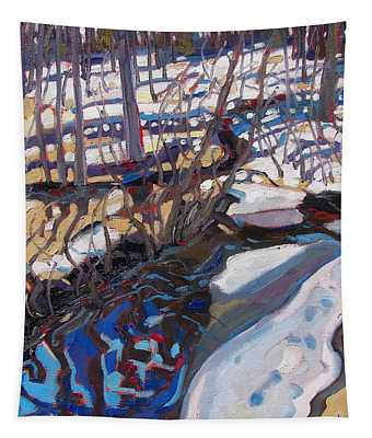 Melt Water And Ice At The Forest Edge Tapestry