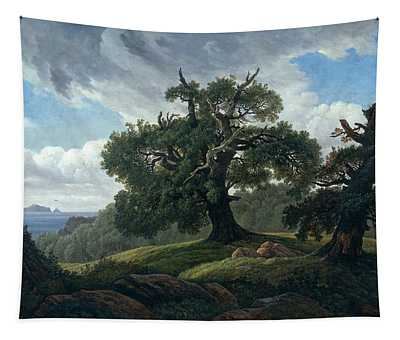 Memory Of A Wooded Island In The Baltic Sea. Oak Trees By The Sea  Tapestry