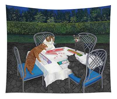 Meowjongg - Cats Playing Mahjongg Tapestry