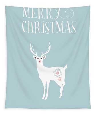 White Christmas Stag Tapestry
