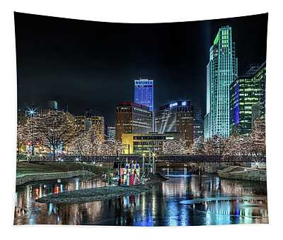 Merry Christmas Omaha Tapestry