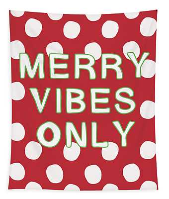 Merry Vibes Only Polka Dots- Art By Linda Woods Tapestry
