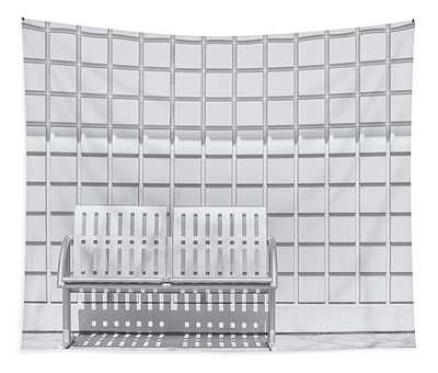 Metal Bench Against Concrete Squares Tapestry