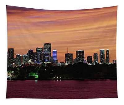 Miami Sunset Panorama Tapestry