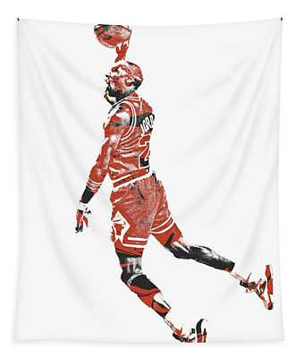 Michael Jordan Chicago Bulls Pixel Art 11 Tapestry