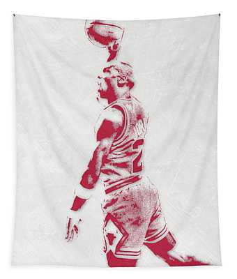 Michael Jordan Chicago Bulls Pixel Art 3 Tapestry