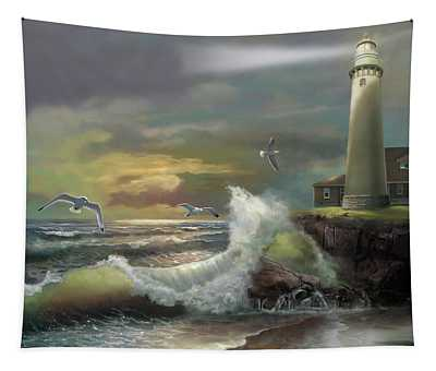 Michigan Seul Choix Point Lighthouse With An Angry Sea Tapestry