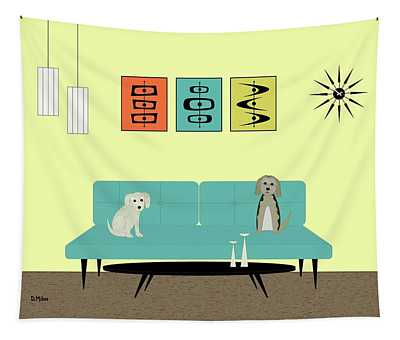 Mid Century Modern Dogs 2 Tapestry
