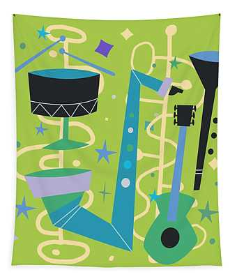 Midcentury Modern Fifties Jazz Composition Tapestry