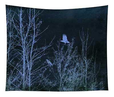 Midnight Flight Silhouette Blue Tapestry