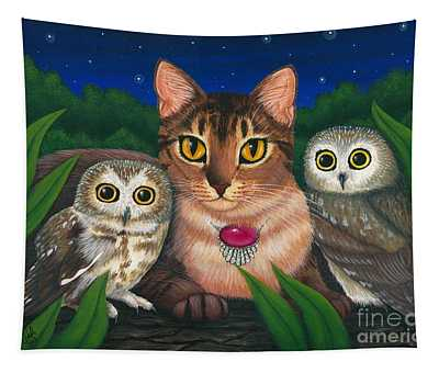 Midnight Watching - Abyssinian Cat Saw Whet Owls Tapestry