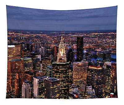 Midtown Skyline At Dusk Tapestry