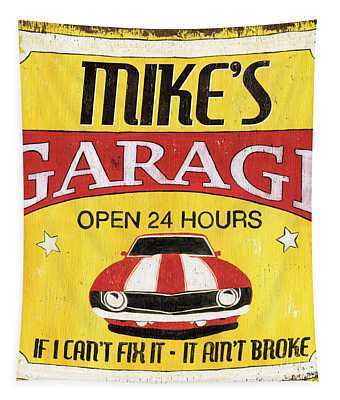Mike's Garage Tapestry