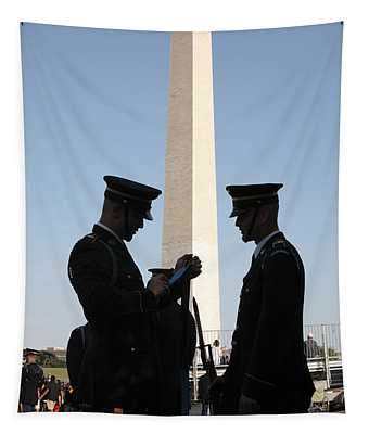Military Ceremony At The Washington Monument Tapestry