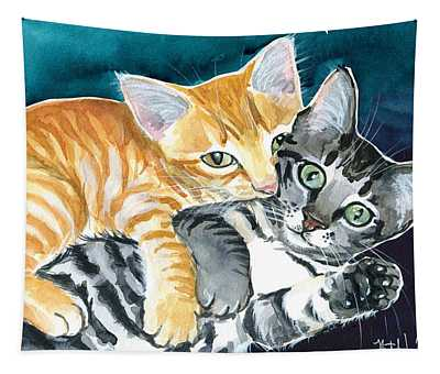 Milo And Tigger - Cute Kitty Painting Tapestry