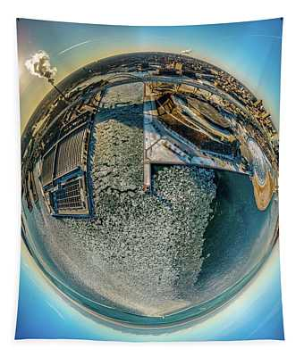 Milwaukee Pierhead Light Little Planet Tapestry