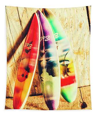 Miniature Surfboard Decorations Tapestry