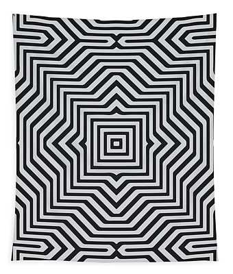 Minimal Geometrical Optical Illusion Style Pattern In Black White T-shirt  Tapestry