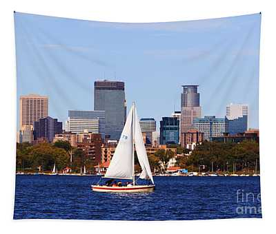 Minneapolis Skyline Lake Calhoun Sailing Tapestry