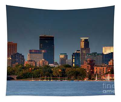 Minneapolis Skyline Photography Lake Calhoun Summer Evening Tapestry