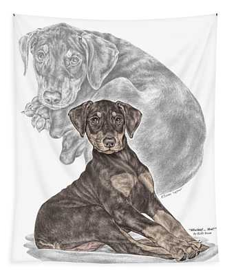 Mischief ... Moi? - Doberman Pinscher Puppy - Color Tinted Tapestry
