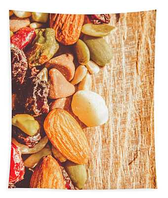 Mixed Nuts On Wooden Background Tapestry