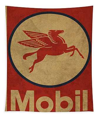 Mobil Oil Gas Station Sign Vintage Art Tapestry
