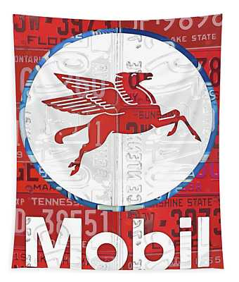 Mobil Oil Gas Station Vintage Sign Recycled License Plate Art Tapestry