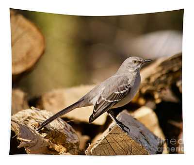 Mockingbird On Chopped Wood Tapestry