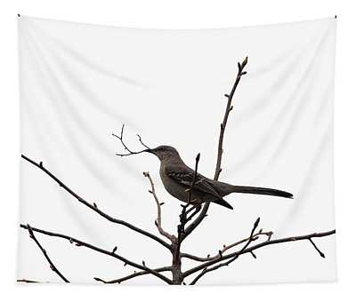 Mockingbird With Twig Tapestry