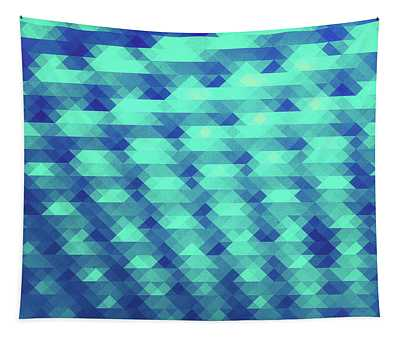Modern Fashion Abstract Color Pattern In Blue   Green Tapestry