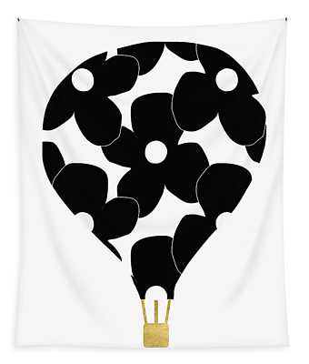 Modern Floral Hot Air Balloon- Art By Linda Woods Tapestry