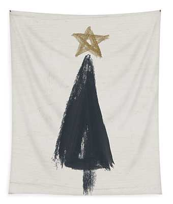 Modern Primitive Black And Gold Tree 3- Art By Linda Woods Tapestry