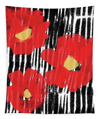 Modern Red Flowers- Art By Linda Woods Tapestry