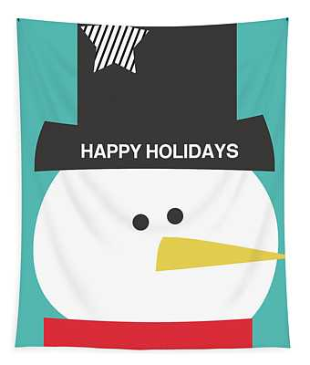 Modern Snowman Happy Holidays- Art By Linda Woods Tapestry