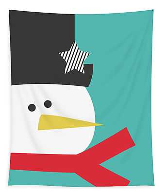 Modern Snowman With Star- Art By Linda Woods Tapestry