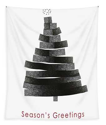 Modern Winter Tree- Season's Greetings Art By Linda Woods Tapestry