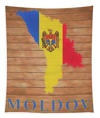 Moldova Rustic Map On Wood Tapestry