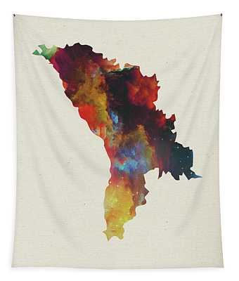 Moldova Watercolor Map Tapestry