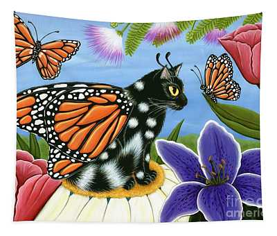 Monarch Butterfly Fairy Cat Tapestry