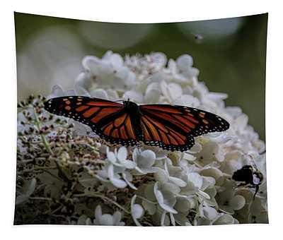 Monarch Butterfly Feeding On Hydrangea Tree Tapestry